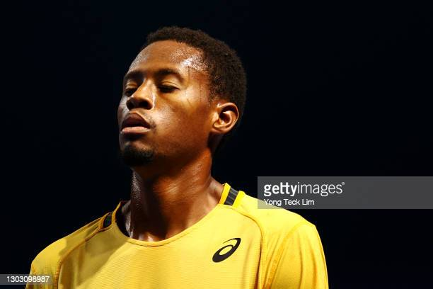 Christopher Eubanks of the United States reacts in his Men's Singles qualifying match against Rohan Bopanna of India during the Singapore Tennis Open...