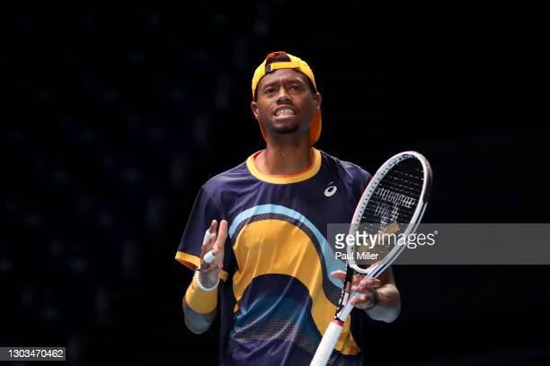 Christopher Eubanks of the United States reacts in his Men's Singles first round match against Alexei Popyrin of Australia on day one of the...