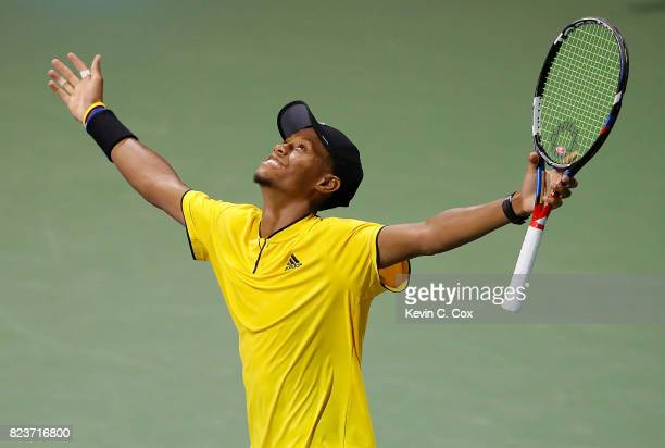 Christopher Eubanks reacts after defeating Jared Donaldson during the BBT Atlanta Open at Atlantic Station on July 27 2017 in Atlanta Georgia