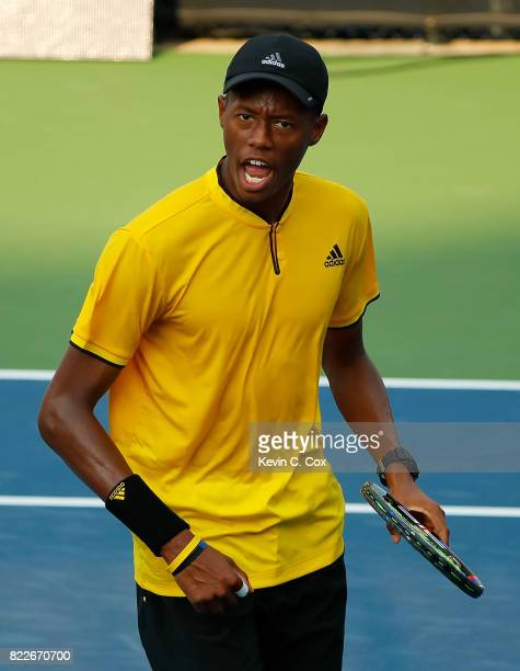 Christopher Eubanks reacts after winning the first set against Taylor Fritz during the BB&T Atlanta Open at Atlantic Station on July 25, 2017 in...