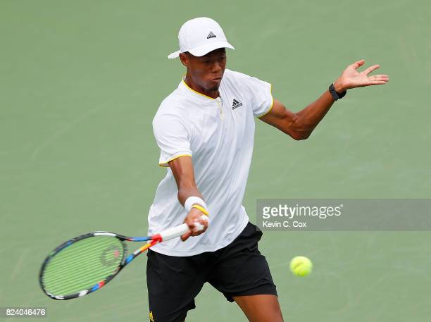 Christopher Eubanks returns a forehand to Ryan Harrison during the BB&T Atlanta Open at Atlantic Station on July 28, 2017 in Atlanta, Georgia.