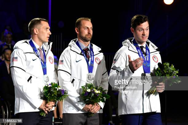 Christopher Fogt Curtis Tomasevicz and Steven Langton speak onstage during the 2019 Team USA Awards at Universal Studios Hollywood on November 19...