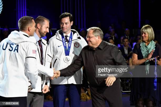 Christopher Fogt Curtis Tomasevicz Steven Langton Steve Holcomb and Jean Schaefer speak onstage during the 2019 Team USA Awards at Universal Studios...
