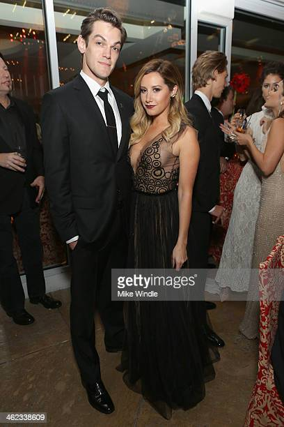 Christopher French and actress Ashley Tisdale attend HBO's Post 2014 Golden Globe Awards Party at Circa 55 Restaurant on January 12 2014 in Los...