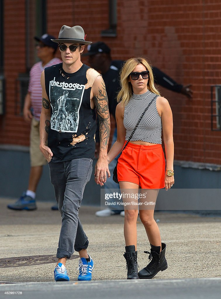 Christopher French and Ashley Tisdale are seen in New York on July 30, 2014 in New York City.