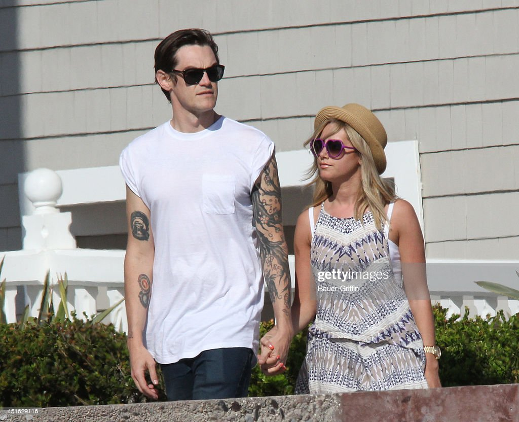 Christopher French and Ashley Tisdale are seen in Santa Monica on July 02, 2014 in Los Angeles, California.