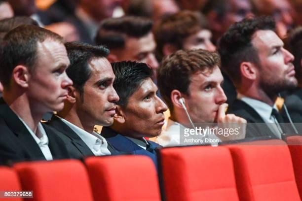 Christopher Froome Alberto Contador Nairo Quintana Simon Yates and Mark Cavendish during the presentation of the Tour de France 2018 at Palais des...