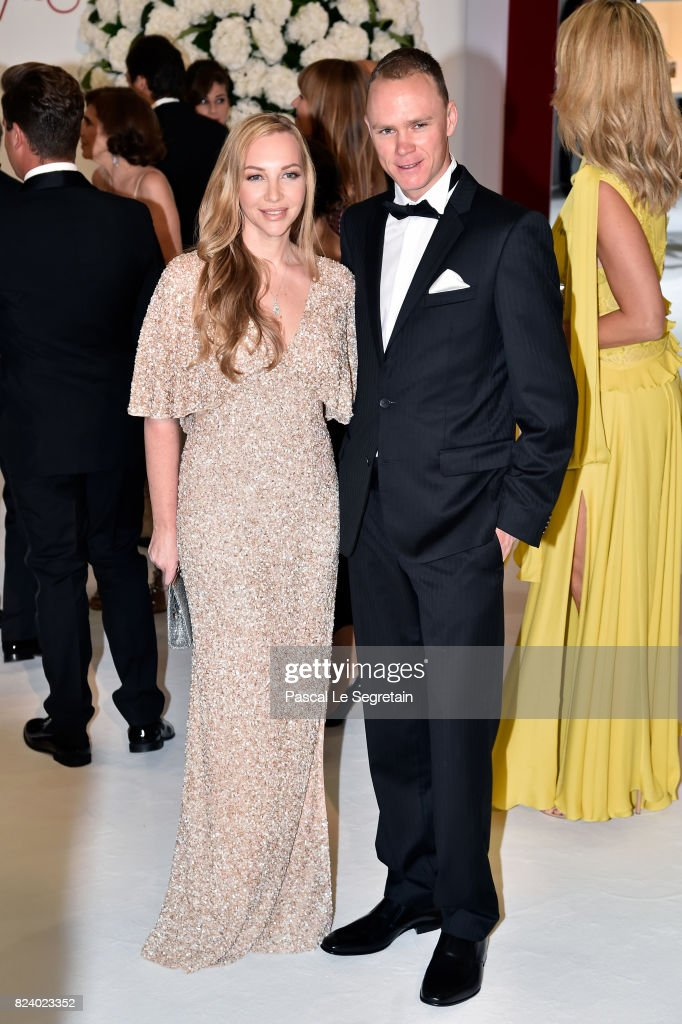 Christopher Froome (R) and his wife Michelle Cound attend the 69th Monaco Red Cross Ball Gala at Sporting Monte-Carlo on July 28, 2017 in Monte-Carlo, Monaco.