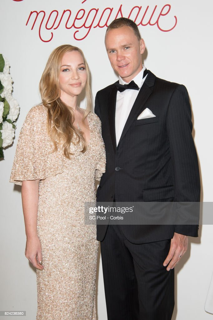 Christopher Froome (R) and his wife Michelle Cound attend the 69th Monaco Red Cross Ball Gala at Sporting Monte-Carloon July 28, 2017 in Monte-Carlo, Monaco.