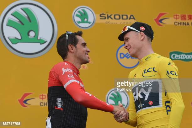 Christopher FROOME from Team SKY contratulates Alberto CONTADOR during his farewell at the 1st TDF Shanghai Criterium 2017 On Sunday 29 October 2017...