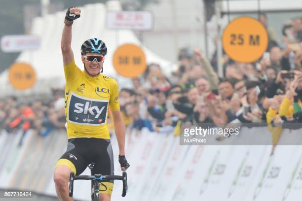 Christopher FROOME from Team SKY sprints to win the 1st TDF Shanghai Criterium 2017, ahead of Rigoberto URAN from Canondale Drapac and Warren BARGUIL...