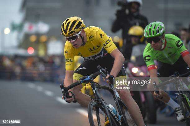 Christopher FROOME in action ahead of Rigoberto URAN during 589km Main Race of the 5th edition of TDF Saitama Criterium 2017 On Saturday 4 November...