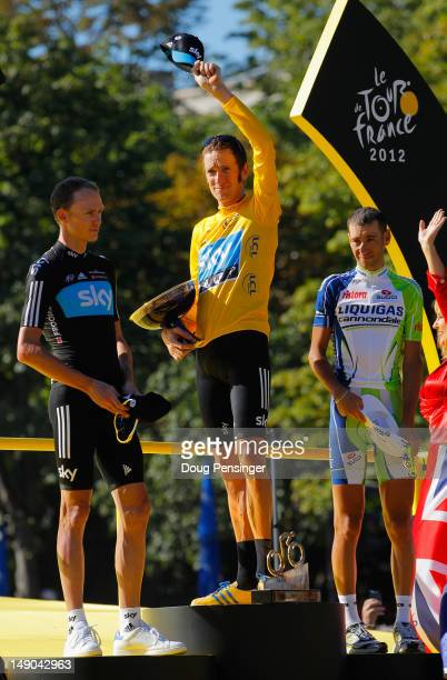 Christopher Froome of Great Britain and SKY Procyling, yellow jersey and Tour de France 2012 winner Bradley Wiggins of Great Britain and SKY...