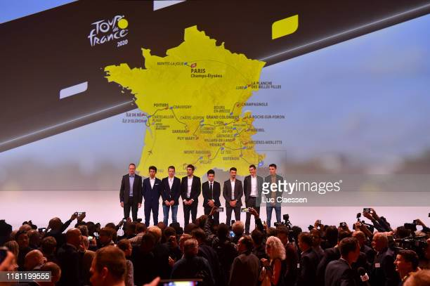 Christopher Froome of Great Britain and Team INEOS / Egan Arley Bernal Gomez of Colombia and Team INEOS / Steven Kruijswijk of The Netherlands and...