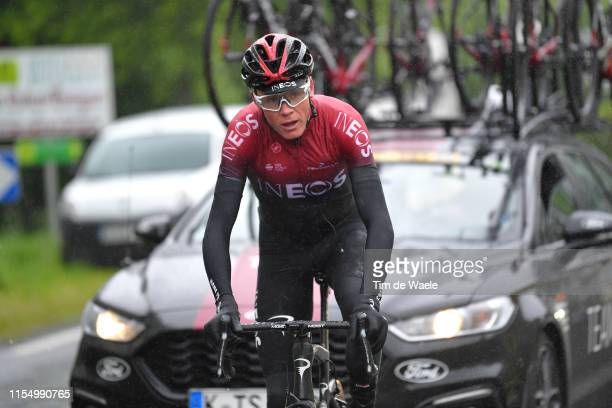 Christopher Froome of Great Britain and Team INEOS / Rain / during the 71st Criterium du Dauphine 2019, Stage 2 a 180km stage from Mauriac to...