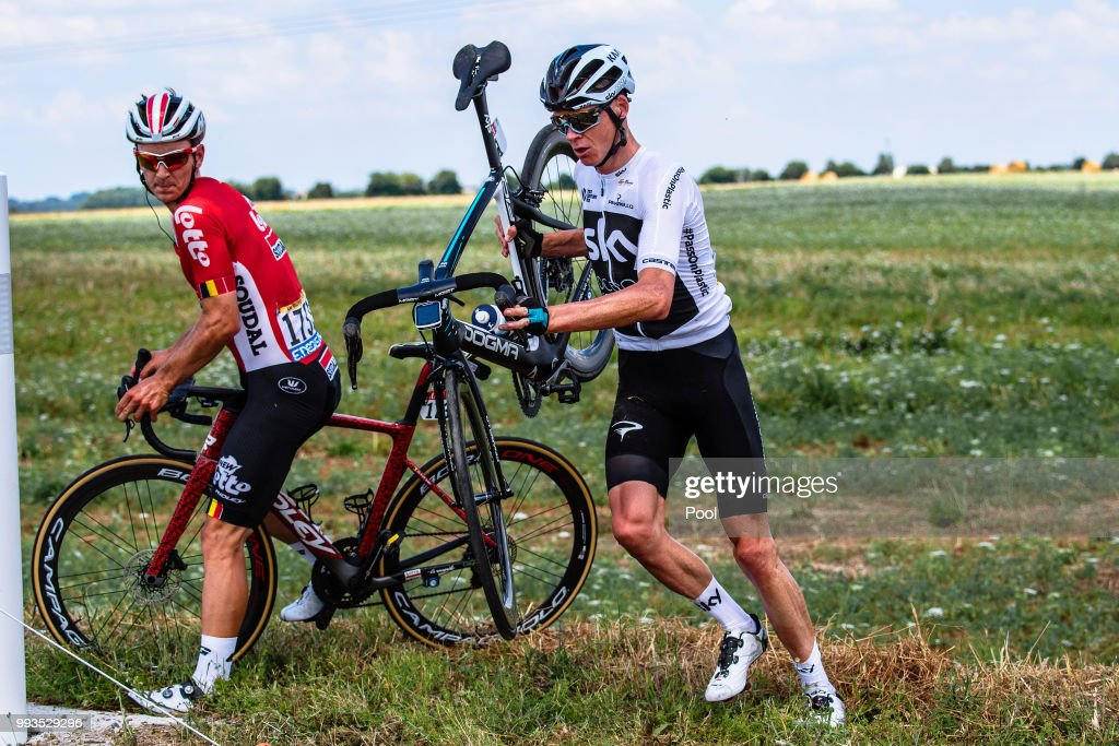 Christopher Froome of Great Britain and Team Sky / Crash / Jasper De Buyst of Belgium and Team Lotto Soudal / during the 105th Tour de France 2018, Stage 1 a 201km from Noirmoutier-En-L'ile to Fontenay-le-Comte on July 7, 2018 in Fontenay-le-Comte, France.