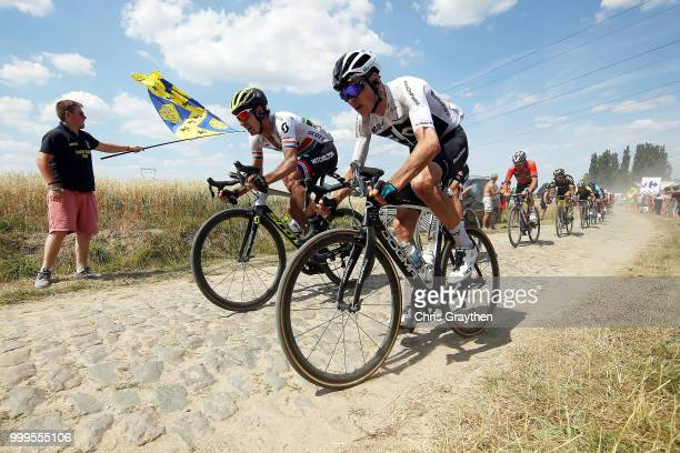 Christopher Froome of Great Britain and Team Sky / Daryl Impey of South Africa and Team MitcheltonScott / Mons En Pevele Cobbles Sector 1 / Pave /...