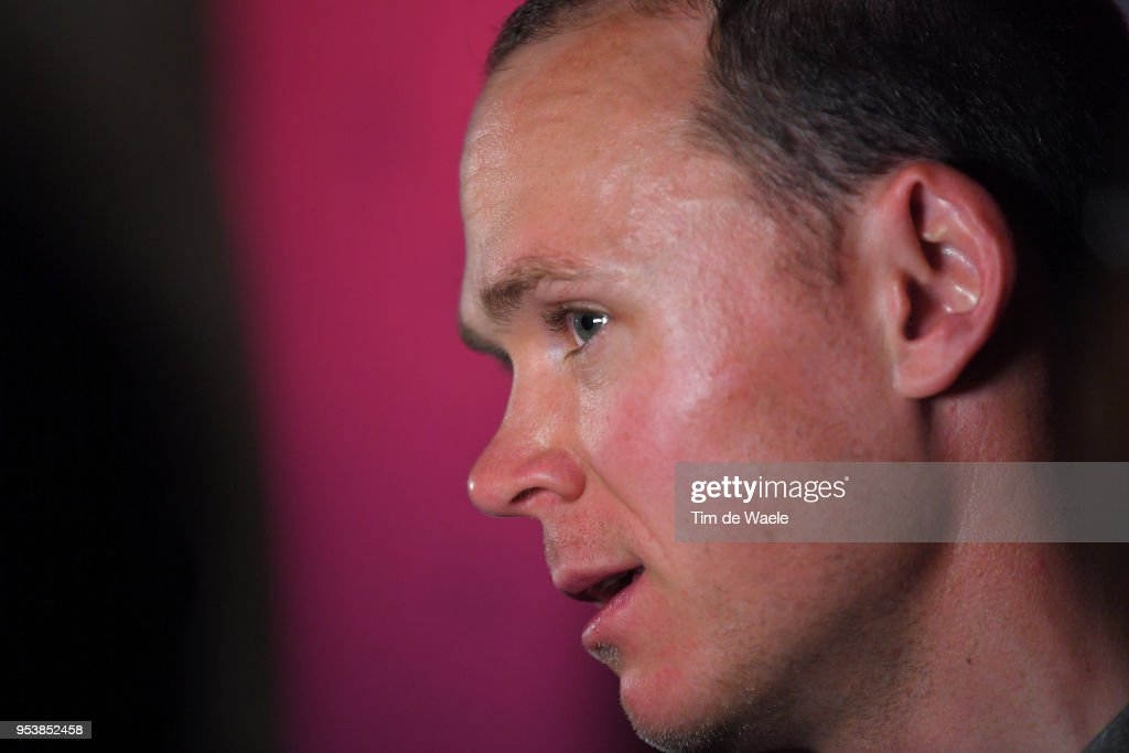 Christopher Froome of Great Britain and Team Sky / during the 101th Tour of Italy 2018 Team Sky Press Conference on May 2, 2018 in Jerusalem, Israel.