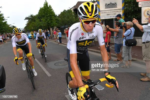 Christopher Froome of Great Britain and Team Sky / Luke Rowe of Great Britain and Team Sky / during the 105th Tour de France 2018 Stage 21 a 116km...