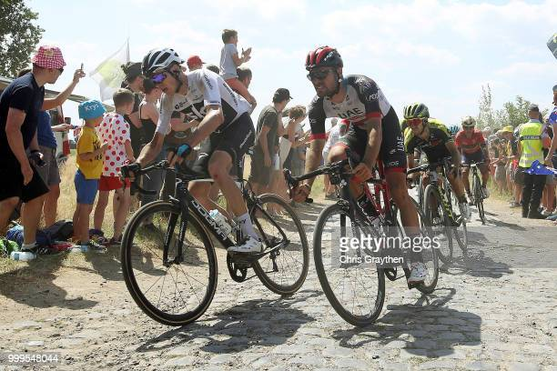 Christopher Froome of Great Britain and Team Sky / Oliviero Troia of Italy and UAE Team Emirates / Cysoing À Bourghelles Cobbles Sector 4 / Pave /...