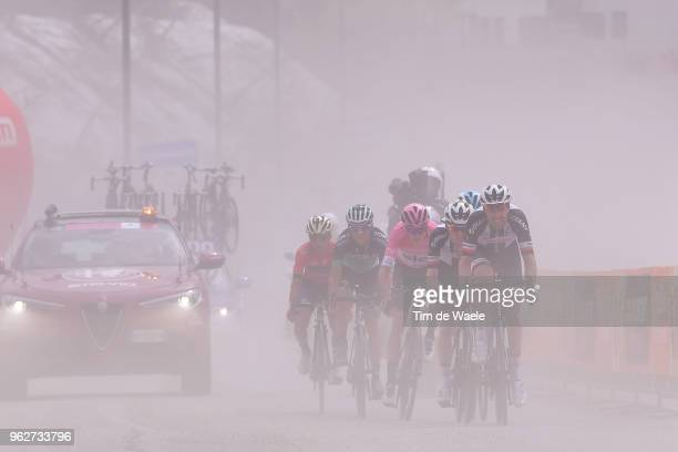 Christopher Froome of Great Britain and Team Sky Pink Leader Jersey / Tom Dumoulin of The Netherlands and Team Sunweb / Sam Oomen of The Netherlands...