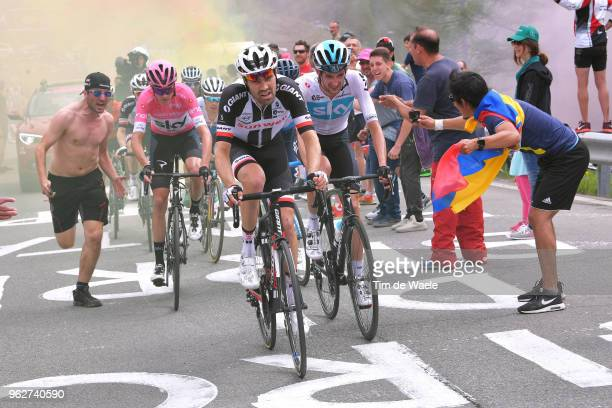 Christopher Froome of Great Britain and Team Sky Pink Leader Jersey / Wout Poels of The Netherlands and Team Sky / Tom Dumoulin of The Netherlands...