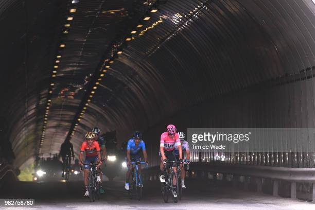 Christopher Froome of Great Britain and Team Sky Pink Leader Jersey / Miguel Angel Lopez of Colombia and Astana Pro Team White Best Young Rider...