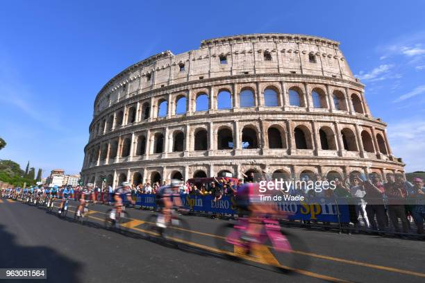 Christopher Froome of Great Britain and Team Sky Pink Leader Jersey / Colosseum / Coliseum / Roma City / Landscape / Peloton / Fans / Public / during...