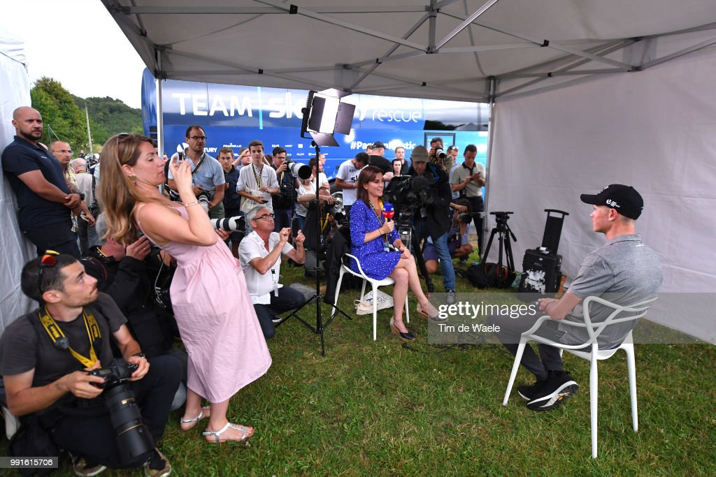 Christopher Froome of Great Britain and Team Sky / Press / Media /Interview / during the 105th Tour de France 2018, Team SKY press conference / TDF / on July 4, 2018 in Saint-Mars-la-Reorthe, France.