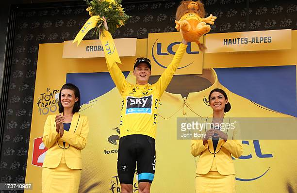 Christopher Froome of Great Britain and Team Sky Procycling consolidates his leader's yellow jersey by winning stage seventeen of the 2013 Tour de...