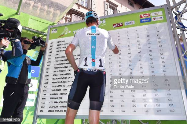 Christopher Froome of Great Britain and Team Sky / Signing / during the 42nd Tour of the Alps 2018 Stage 1 a 1346km stage from Arco to Folgaria 1160m...