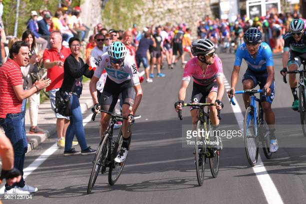 Christopher Froome of Great Britain and Team Sky / Simon Yates of Great Britain and Team Mitchelton-Scott Pink Leader Jersey / Richard Carapaz of...