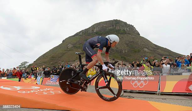 Christopher Froome of Great Britain at the start of the Cycling Road Men's Individual Time Trial on Day 5 of the Rio 2016 Olympic Games at Pontal on...