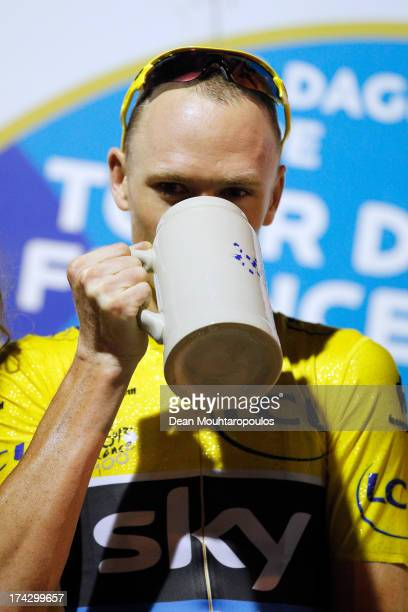Christopher Froome of Great Britain celebrates with a beer after winning the Bavaria Profronde Stiphout Criterium Race held in Stiphout on July 23...