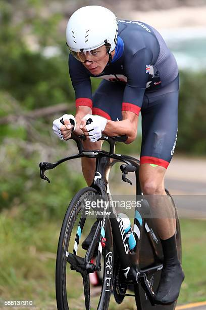 Christopher Froome of Great Britain competes in the Cycling Road Men's Individual Time Trial on Day 5 of the Rio 2016 Olympic Games at Pontal on...