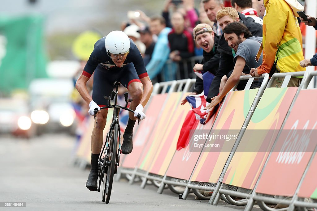 Christopher Froome of Great Britain crosses the finish line in the Cycling Road Men's Individual Time Trial on Day 5 of the Rio 2016 Olympic Games at Pontal on August 10, 2016 in Rio de Janeiro, Brazil.