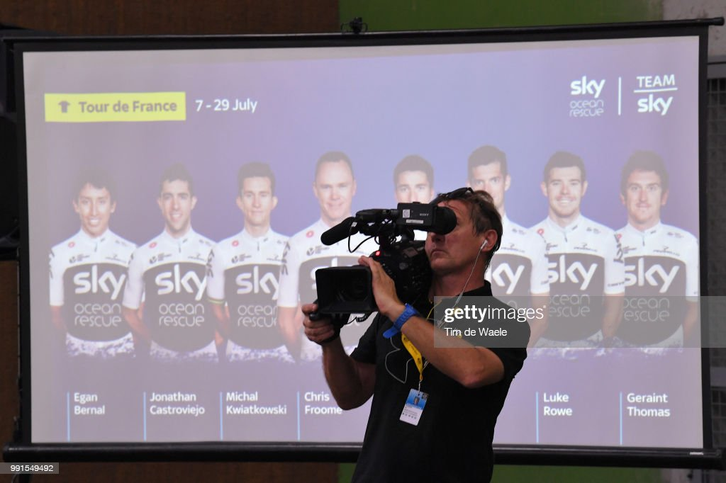 Christopher Froome of Great Britain / Egan Arley Bernal Gomez of Colombia Britain / Jonathan Castroviejo Nicolas of Spain Britain / Michal Kwiatkowski of Poland / Gianni Moscon of Italy / Wouter Poels of Netherlands / Luke Rowe of Great Britain / Geraint Thomas of Great Britain / Illustration / Media / during the 105th Tour de France 2018, Team SKY press conference / TDF / on July 4, 2018 in Saint-Mars-la-Reorthe, France.