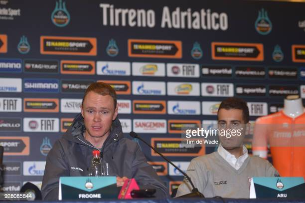 Christopher Froome of Great Britain Fabio Aru of Italy attends the 53rd TirrenoAdriatico 2017 / Press Conference on March 6 2018 in Tuscany Italy