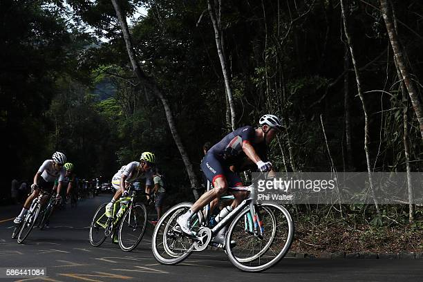Christopher Froome of Great Britain rides during the Men's Road Race on Day 1 of the Rio 2016 Olympic Games at the Fort Copacabana on August 6, 2016...