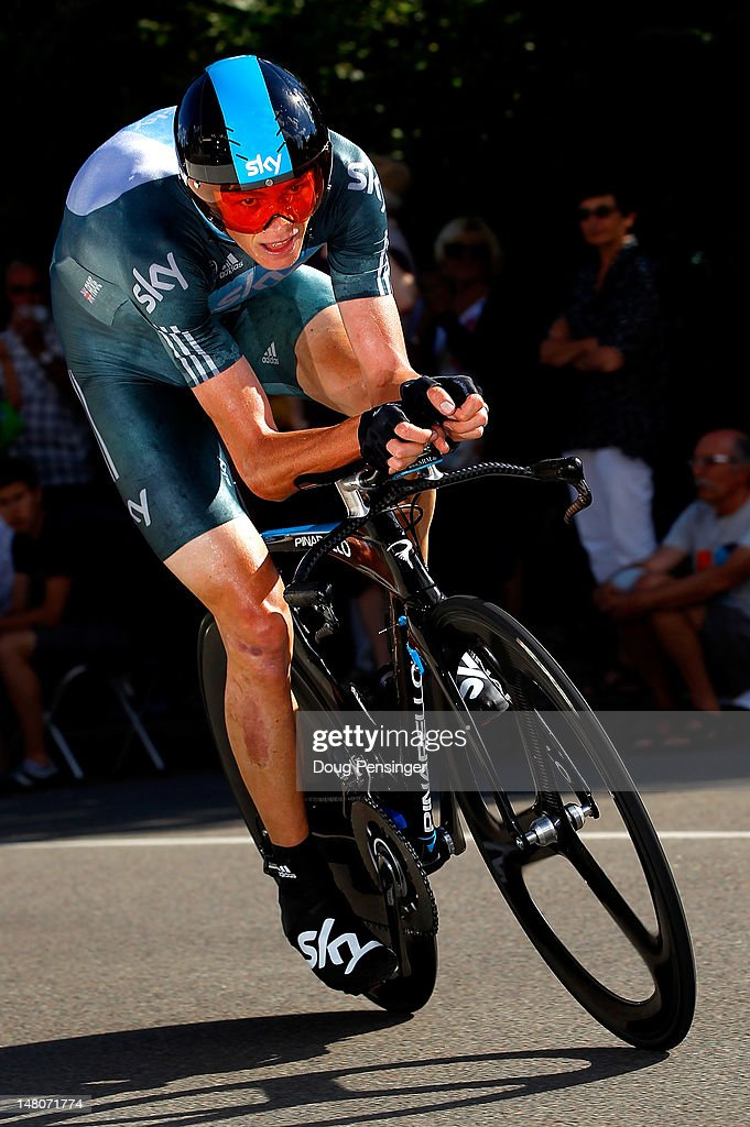 Christopher Froome of Great Britain riding for Sky Procycling races to second place in the individual time trial in stage nine of the 2012 Tour de France from Arc-et-Senans to Besancon on July 9, 2012 in Besancon, France.