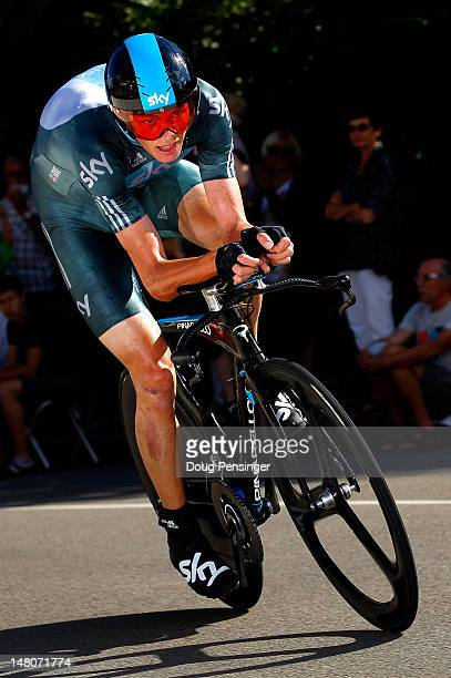Christopher Froome of Great Britain riding for Sky Procycling races to second place in the individual time trial in stage nine of the 2012 Tour de...