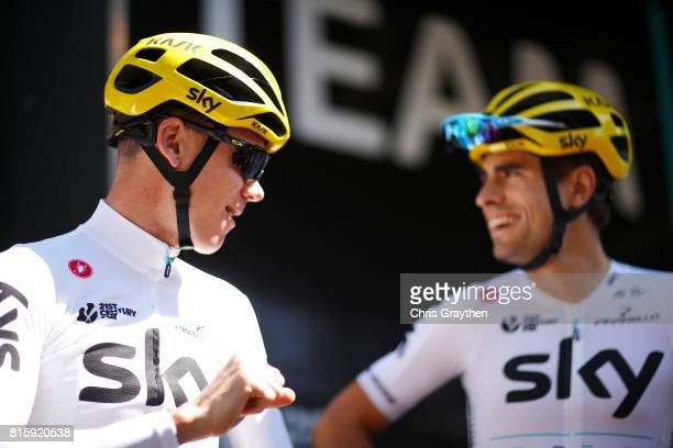 Christopher Froome of Great Britain riding for Team Sky and Mikel Landa of Spain riding for Team Sky talk before training on the second rest day of...