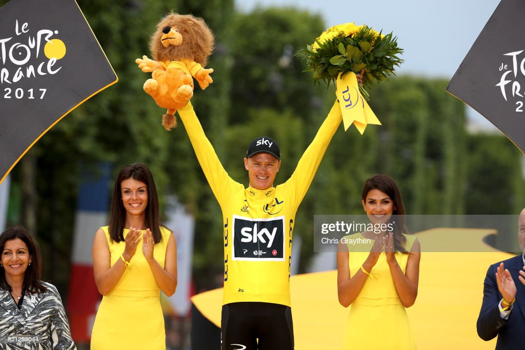 Christopher Froome of Great Britain riding for Team Sky celebrates on the podium after the overall general classification of the 2017 Le Tour de France, on July 23, 2017 in Paris, France.