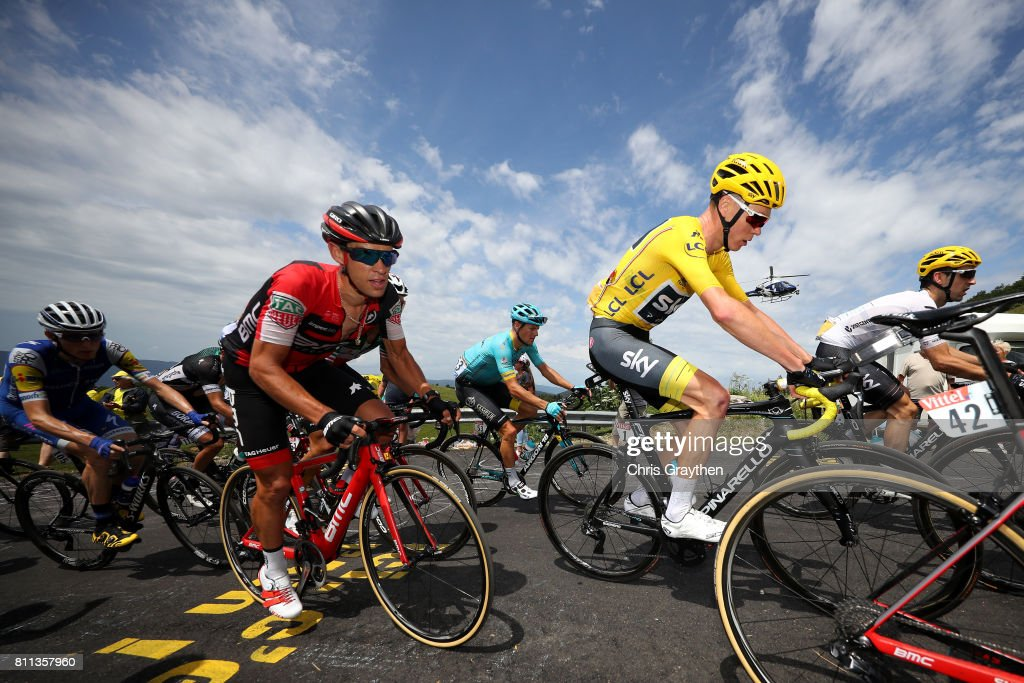 Christopher Froome of Great Britain riding for Team Sky in the leader's jersey and Richie Porte of Australia riding for BMC Racing Team ride in the peloton up the Col du Grand Colombier during stage 9 of the 2017 Le Tour de France, a 181.5km stage from Nantua to Chambéry on July 9, 2017 in Chambery, France.