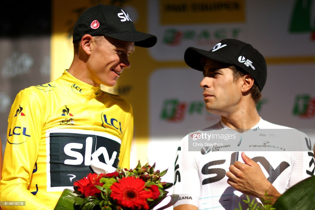 Christopher Froome of Great Britain riding for Team Sky in the leader's jersey and Mikel Landa of Spain riding for Team Sky talk on stage during stage 14 of the 2017 Le Tour de France, a 181.5km stage from Blagnac to Rodez on July 15, 2017 in Rodez, France.