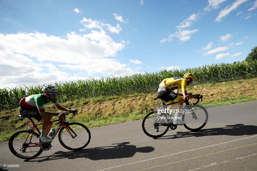 Christopher Froome of Great Britain riding for Team Sky in the leader's jersey and Fabio Aru of Italy riding for Astana Pro Team ride in the peloton during stage 15 of the 2017 Le Tour de France, a 189.5km stage from Laissac-Sévérac l'Église to Le-Puy-en-Velay on July 16, 2017 in Le Puy-en-Velay, France.