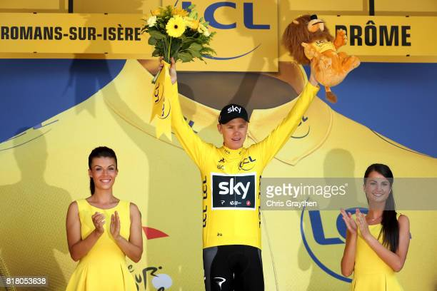 Christopher Froome of Great Britain riding for Team Sky in the leader's jersey poses for a photo on the podium following stage 16 of the 2017 Le Tour...