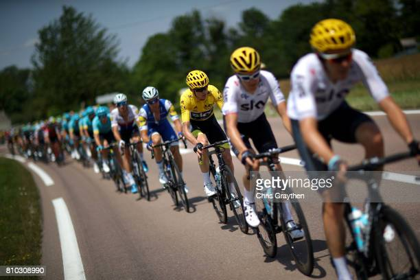 Christopher Froome of Great Britain riding for Team Sky in the leader's jersey rides in the peloton during stage seven of the 2017 Le Tour de France,...