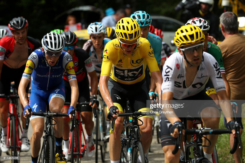 Christopher Froome of Great Britain riding for Team Sky in the leader's jersey rides in the peloton during stage 9 of the 2017 Le Tour de France, a 181.5km stage from Nantua to Chambéry on July 9, 2017 in Chambery, France.