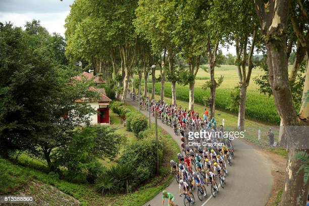 Christopher Froome of Great Britain riding for Team Sky in the leader's jersey rides in the peleton during stage 11 of the 2017 Le Tour de France a...